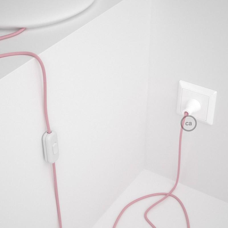 Cableado para lámpara de mesa, cable RM16 Rayón Rosa Bebé 1,8 m. Elige el color de la clavija y del interruptor!
