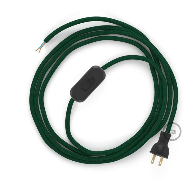 Cableado para lámpara de mesa, cable RM21 Rayón Verde Oscuro 1,8 m. Elige el color de la clavija y del interruptor!