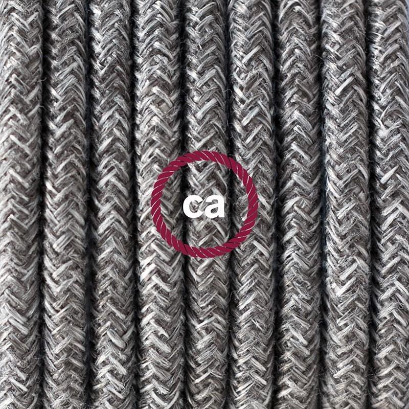 Cableado para lámpara de mesa, cable RN02 Lino Natural Gris 1,8 m. Elige el color de la clavija y del interruptor!