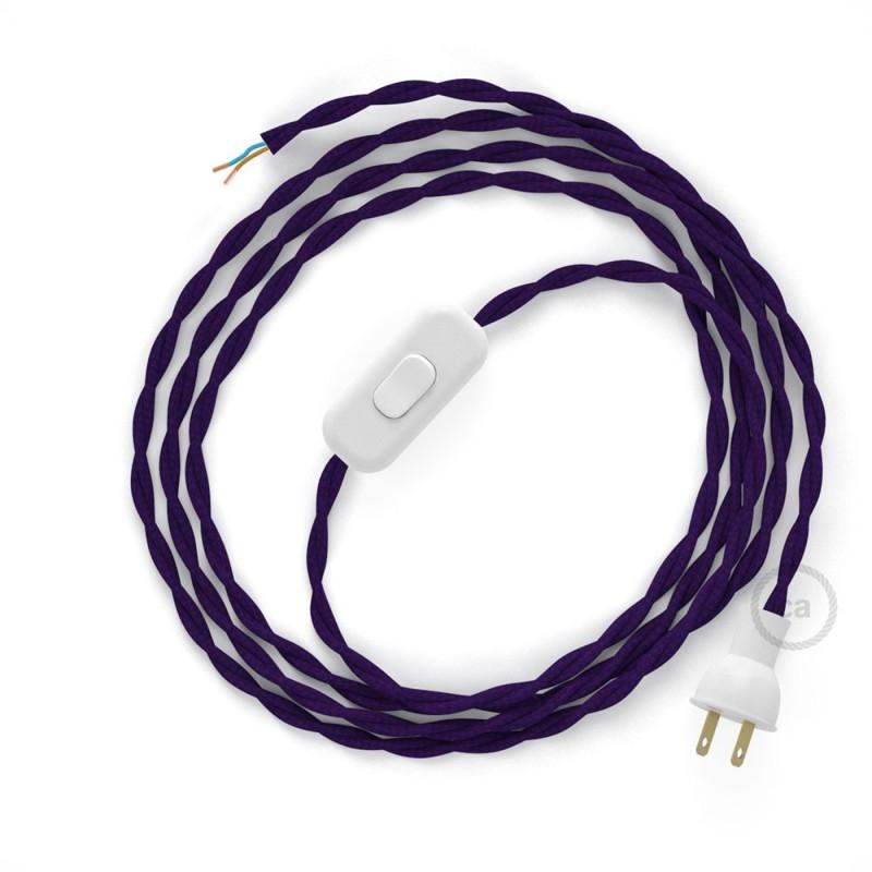 Cableado para lámpara de mesa, cable TM14 Rayón Púrpura 1,8 m. Elige el color de la clavija y del interruptor!