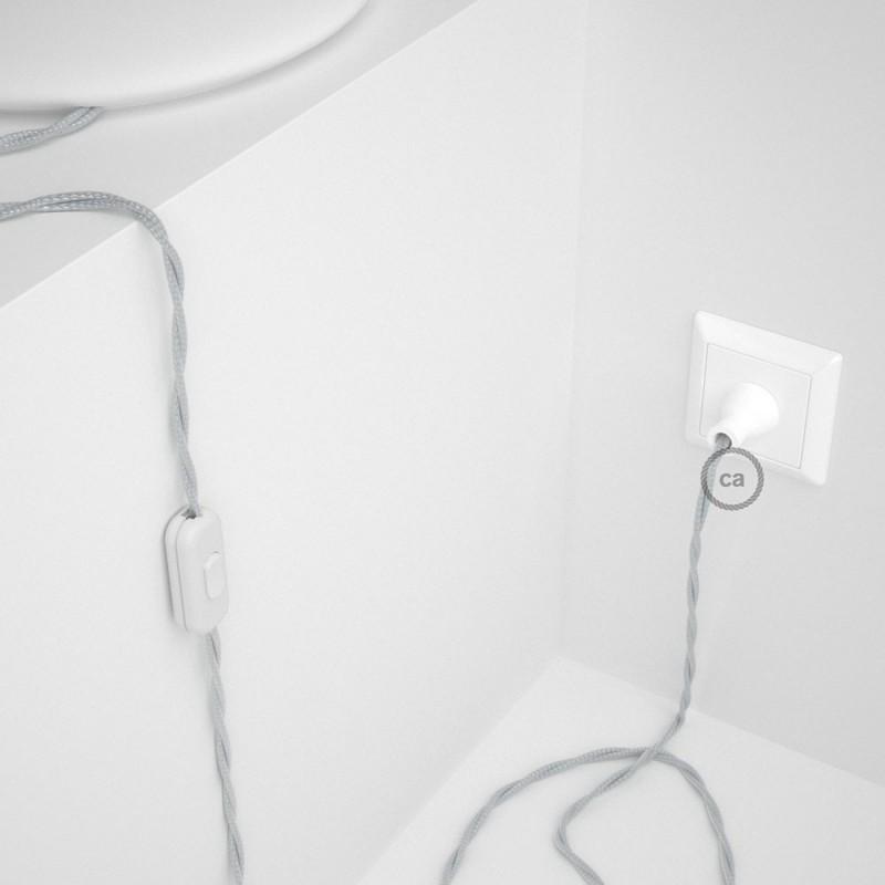 Cableado para lámpara de mesa, cable TM02 Rayón Plateado 1,8 m. Elige el color de la clavija y del interruptor!
