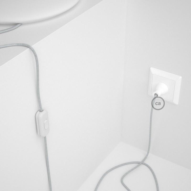 Cableado para lámpara de mesa, cable RL01 Rayón Brillante Blanco 1,8 m. Elige el color de la clavija y del interruptor!