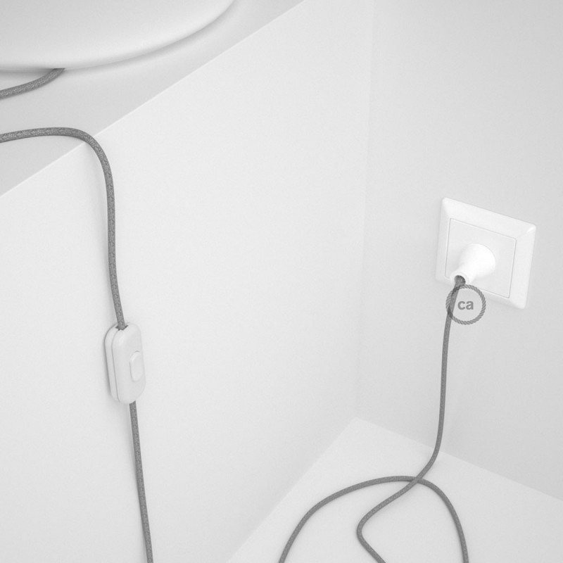 Cableado para lámpara de mesa, cable RL02 Rayón Brillante Plateado 1,8 m. Elige el color de la clavija y del interruptor!