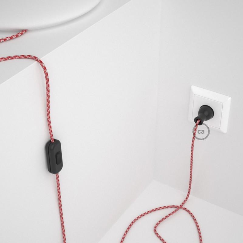 Cableado para lámpara de mesa, cable RP09 Rayón Bicolor Blanco-Rojo 1,8 m. Elige el color de la clavija y del interruptor!