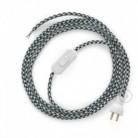 Cableado para lámpara de mesa, cable RP04 Rayón Bicolor Blanco-Negro 1,8 m. Elige el color de la clavija y del interruptor!