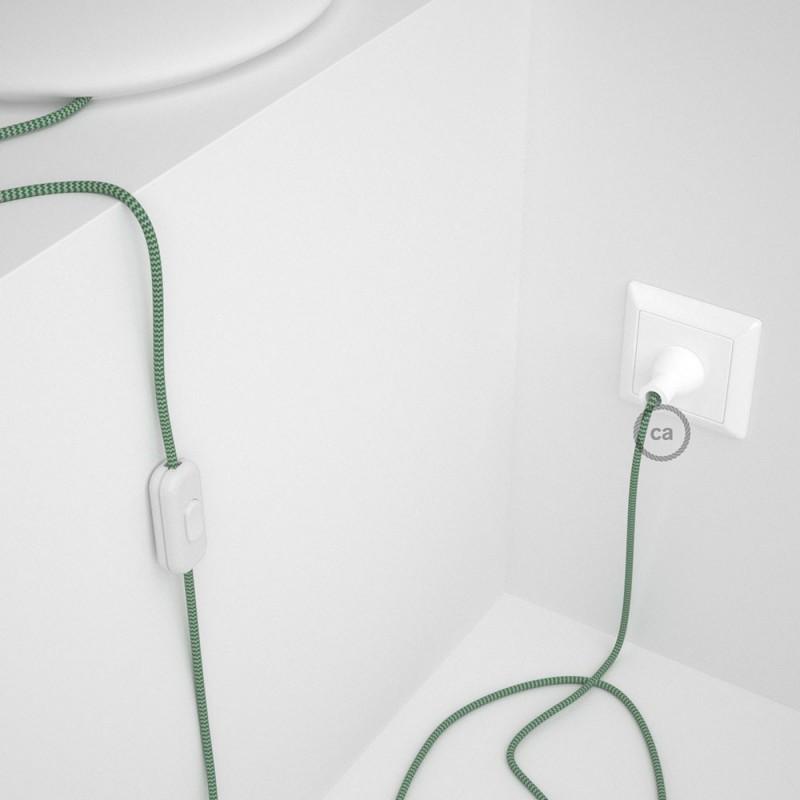 Cableado para lámpara de mesa, cable RZ06 Rayón ZigZag Blanco Verde 1,8 m. Elige el color de la clavija y del interruptor!