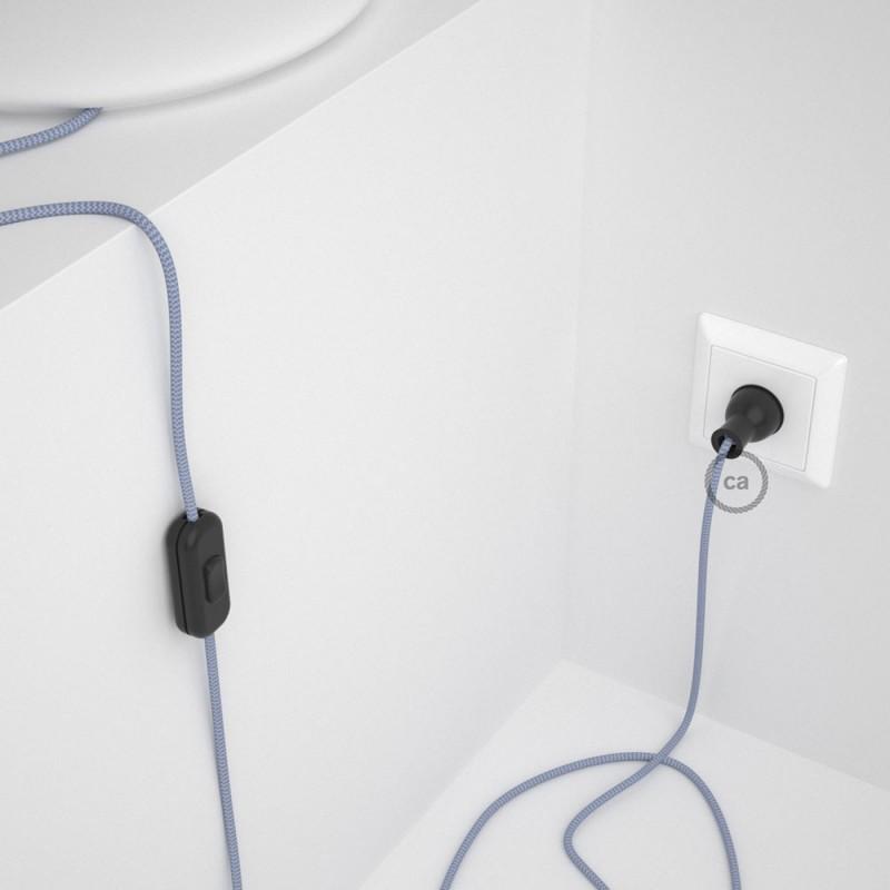 Cableado para lámpara de mesa, cable RZ07 Rayón ZigZag Blanco Lila 1,8 m. Elige el color de la clavija y del interruptor!