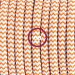 Cableado para lámpara de mesa, cable RZ15 Rayón ZigZag Blanco Naranja 1,8 m. Elige el color de la clavija y del interruptor!