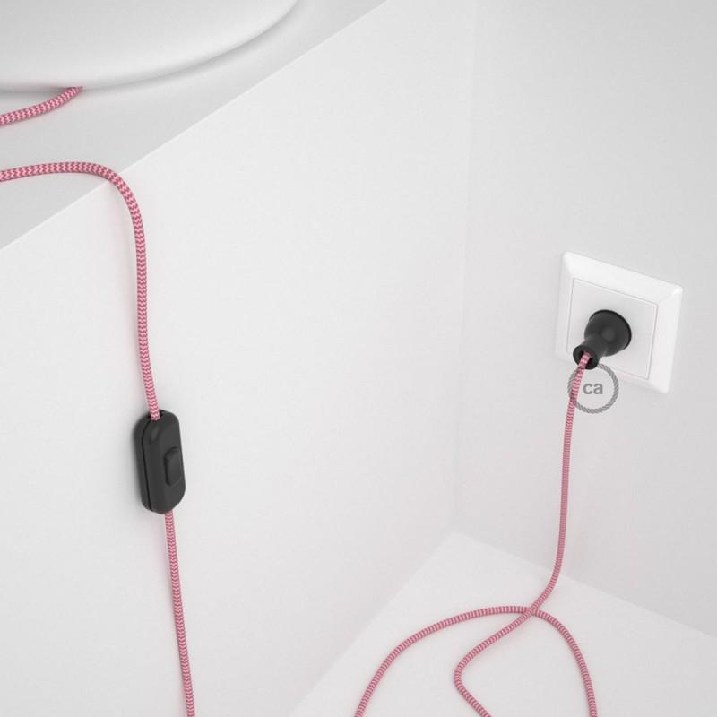 Cableado para lámpara de mesa, cable RZ08 Rayón ZigZag Blanco Fucsia 1,8 m. Elige el color de la clavija y del interruptor!