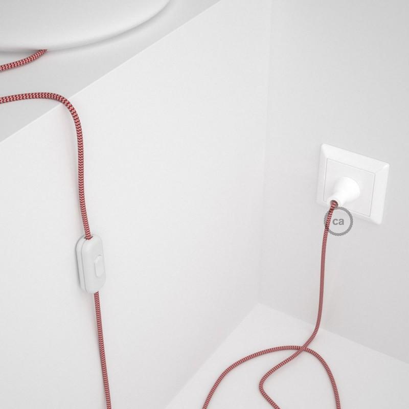 Cableado para lámpara de mesa, cable RZ09 Rayón ZigZag Blanco Rojo 1,8 m. Elige el color de la clavija y del interruptor!