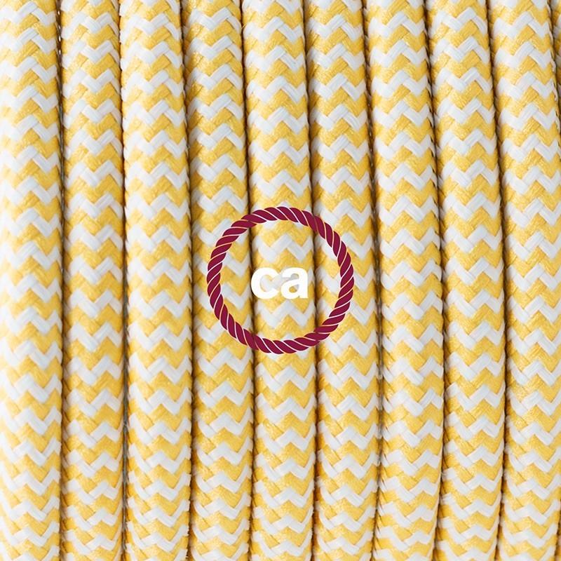 Cableado para lámpara de mesa, cable RZ10 Rayón ZigZag Blanco Amarillo 1,8 m. Elige el color de la clavija y del interruptor!