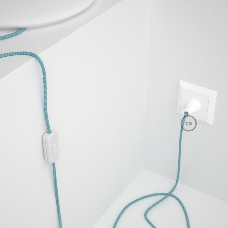 Cableado para lámpara de mesa, cable RZ11 Rayón ZigZag Blanco Celeste 1,8 m. Elige el color de la clavija y del interruptor!