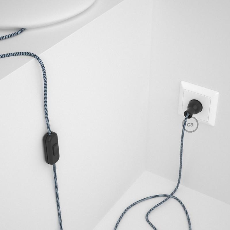 Cableado para lámpara de mesa, cable RZ12 Rayón ZigZag Blanco Azul 1,8 m. Elige el color de la clavija y del interruptor!