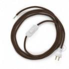 Cableado para lámpara de mesa, cable RL13 Rayón Brillante Café 1,8 m. Elige el color de la clavija y del interruptor!