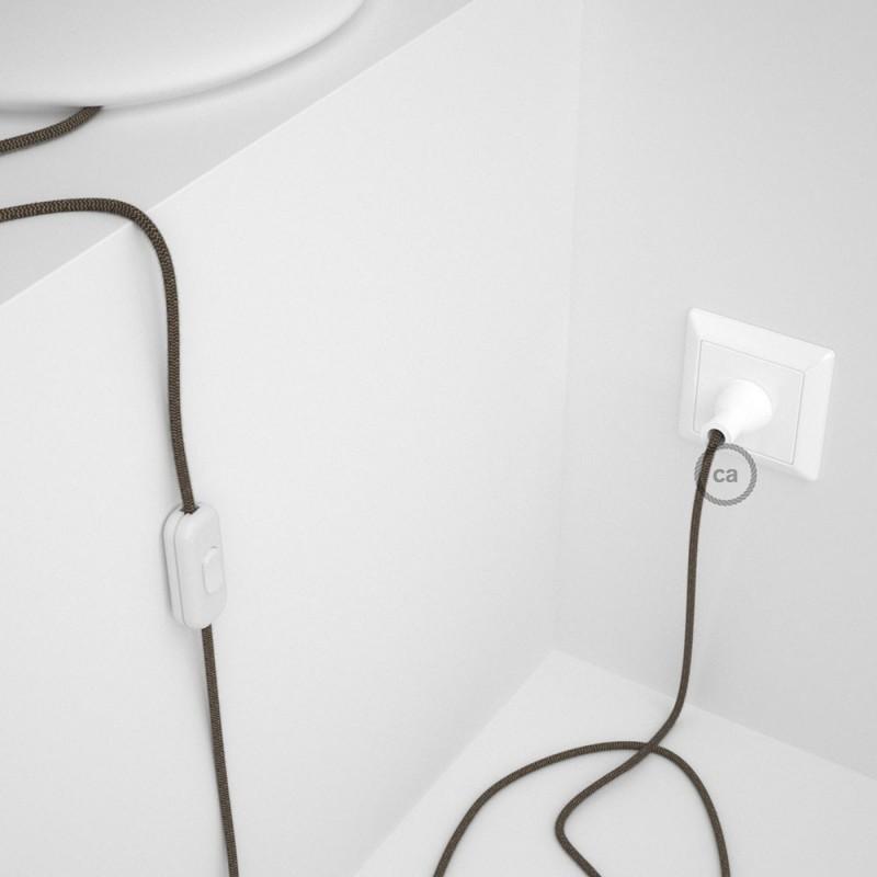 Cableado para lámpara de mesa, cable RD73 Algodón y Lino ZigZag Corteza 1,8 m. Elige el color de la clavija y del interruptor!