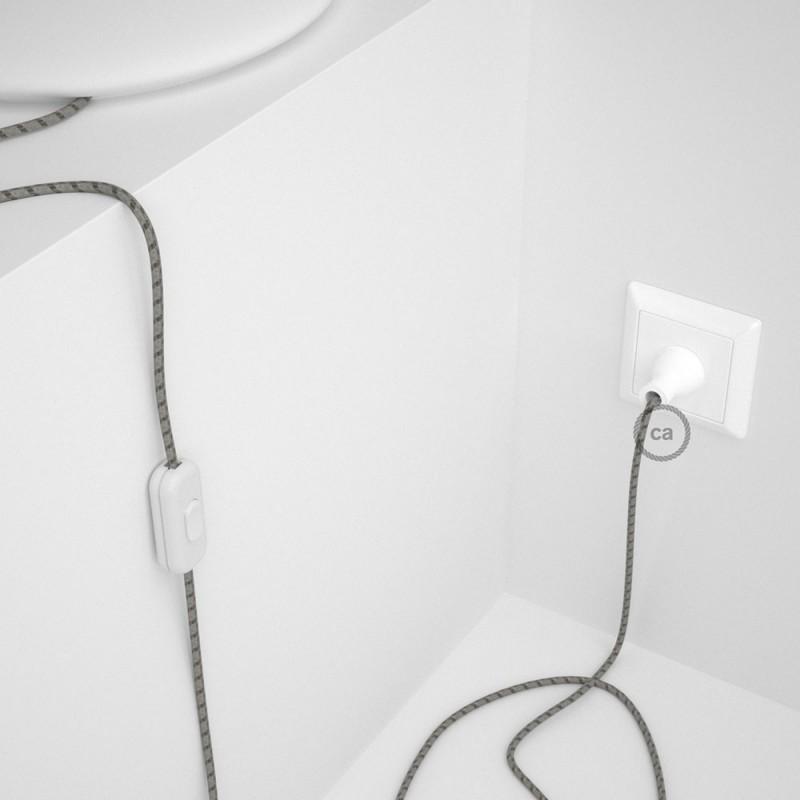 Cableado para lámpara de mesa, cable RD53 Algodón y Lino Rayas Corteza 1,8 m. Elige el color de la clavija y del interruptor!