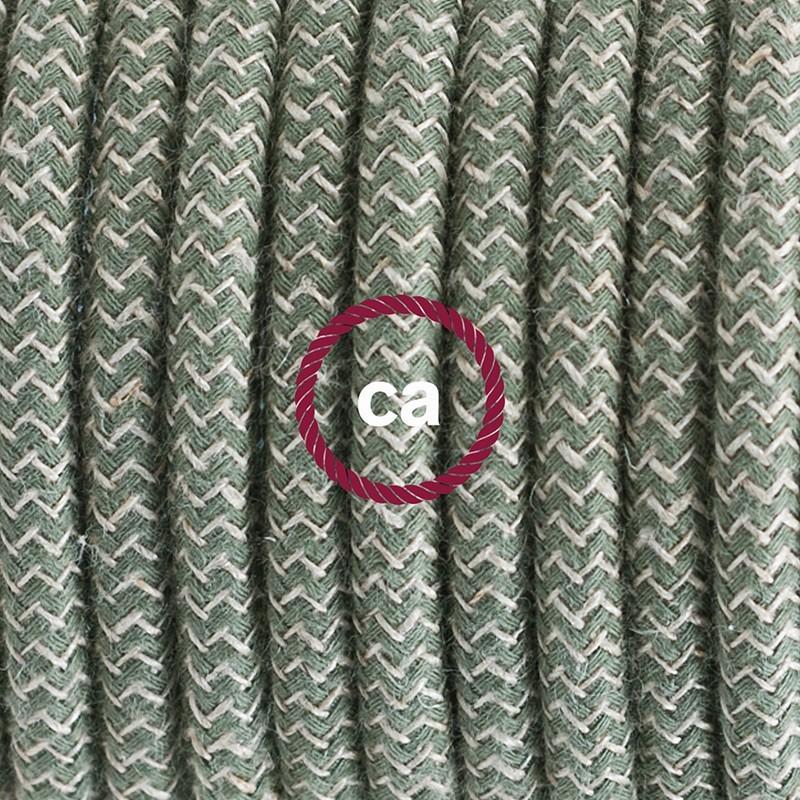 Cableado para lámpara de mesa, cable RD72 Algodón Lino ZigZag Verde Tomillo 1,8m.Elige el color de la clavija y del interruptor!