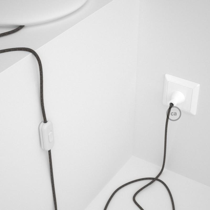 Cableado para lámpara de mesa, cable RD74 Algodón y Lino ZigZag Antracita 1,8 m. Elige el color de la clavija y del interruptor!