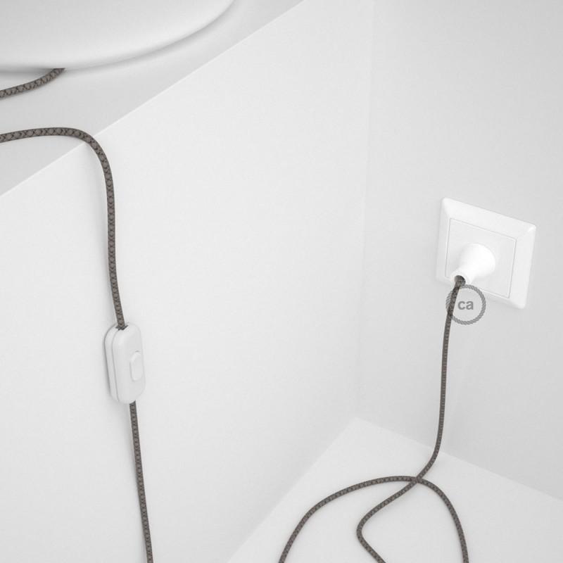 Cableado para lámpara de mesa, cable RD64 Algodón y Lino Rombo Antracita 1,8 m. Elige el color de la clavija y del interruptor!