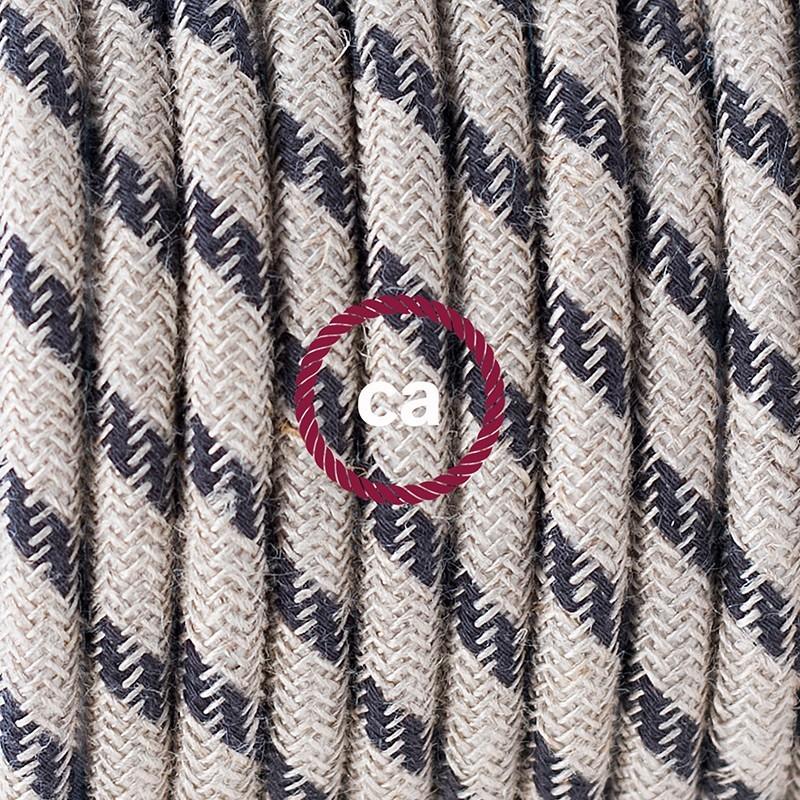 Cableado para lámpara de mesa, cable RD54 Algodón y Lino Rayas Antracita 1,8 m. Elige el color de la clavija y del interruptor!
