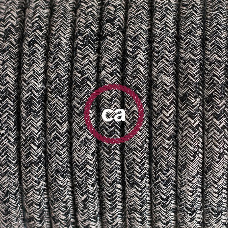 Cableado para lámpara de mesa, cable RS81 Algodón y Lino Natural Negro 1,8 m. Elige el color de la clavija y del interruptor!