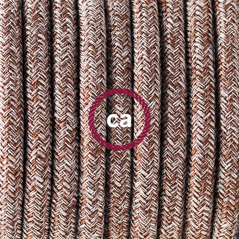Cableado para lámpara de mesa, cable RS82 Algodón y Lino Natural Café 1,8 m. Elige el color de la clavija y del interruptor!
