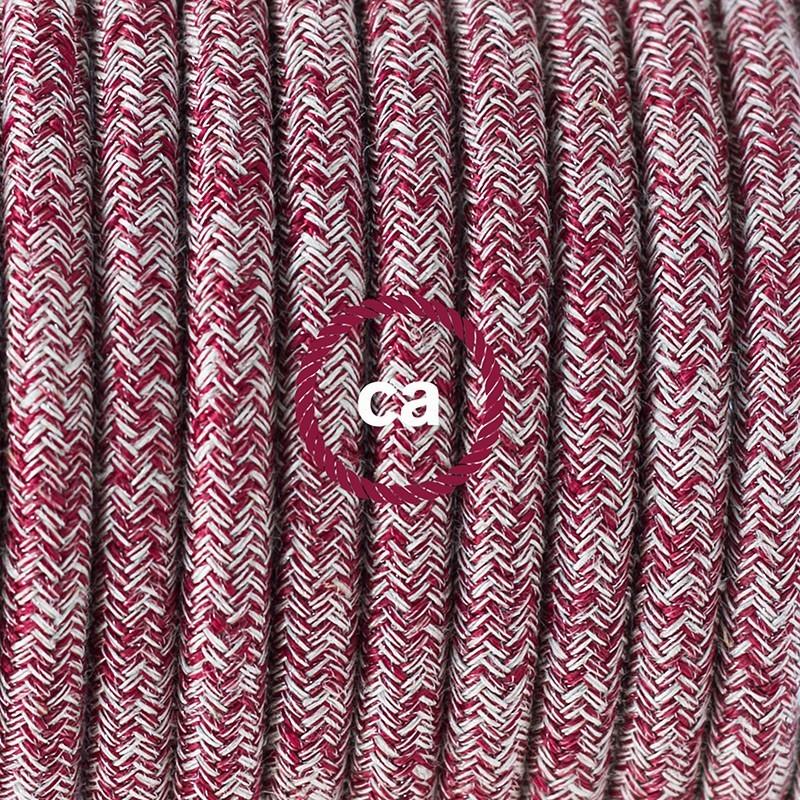 Cableado para lámpara de mesa, cable RS83 Algodón y Lino Natural Rojo 1,8 m. Elige el color de la clavija y del interruptor!