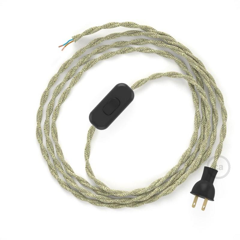 Cableado para lámpara de mesa, cable TN01 Lino Natural Neutro 1,8 m. Elige el color de la clavija y del interruptor!