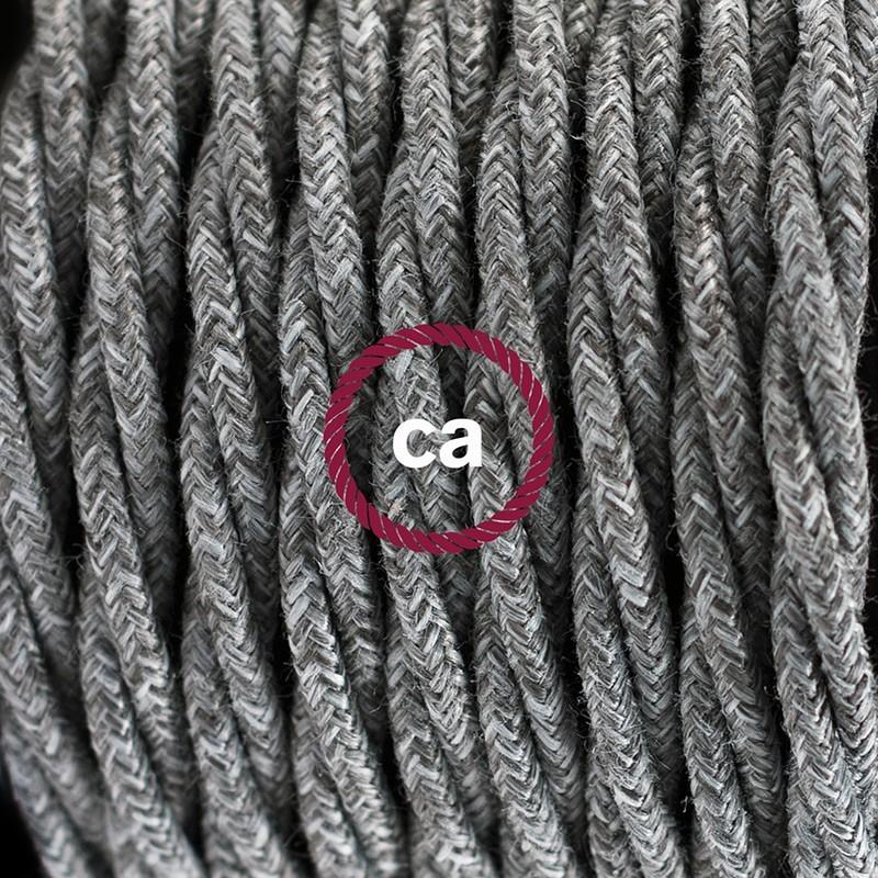 Cableado para lámpara de mesa, cable TN02 Lino Natural Gris 1,8 m. Elige el color de la clavija y del interruptor!