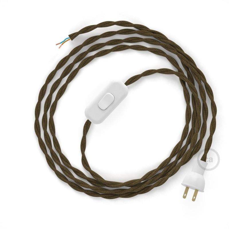Cableado para lámpara de mesa, cable TC13 Algodón Café 1,8 m. Elige el color de la clavija y del interruptor!