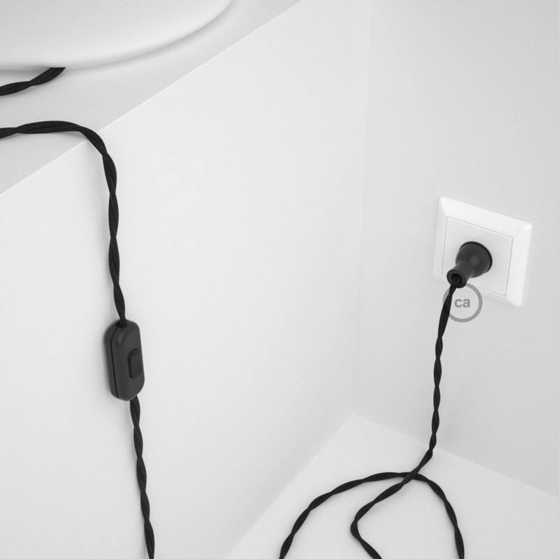 Cableado para lámpara de mesa, cable TC04 Algodón Negro 1,8 m. Elige el color de la clavija y del interruptor!