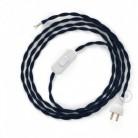 Cableado para lámpara de mesa, cable TM20 Rayón Azul Oscuro 1,8 m. Elige el color de la clavija y del interruptor!