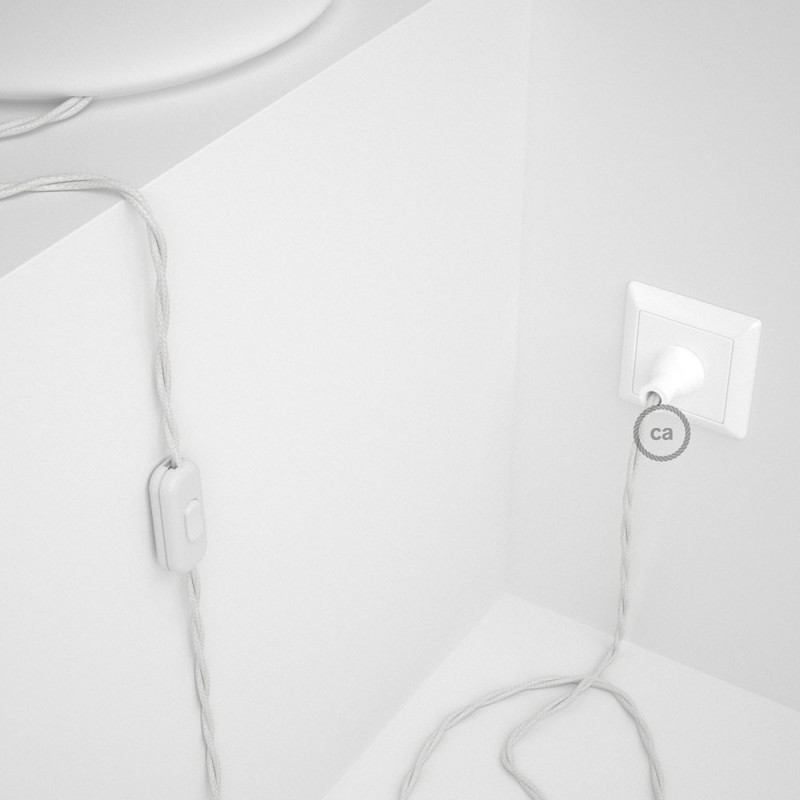 Cableado para lámpara de mesa, cable TC01 Algodón Blanco 1,8 m. Elige el color de la clavija y del interruptor!