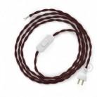 Cableado para lámpara de mesa, cable TM19 Rayón Burdeos 1,8 m. Elige el color de la clavija y del interruptor!