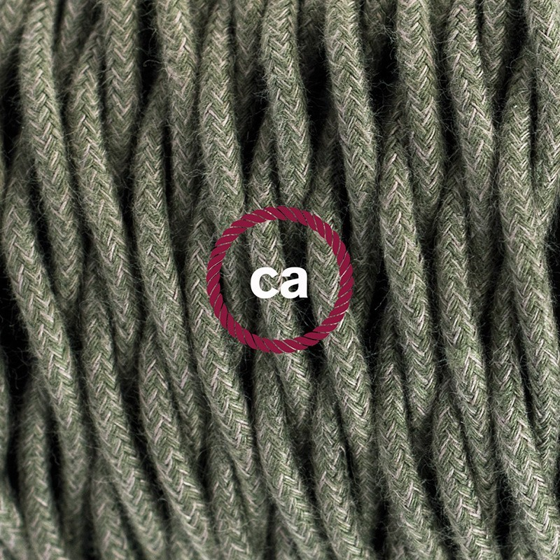 Cableado para lámpara de mesa, cable TC63 Algodón Verde Gris 1,8 m. Elige el color de la clavija y del interruptor!