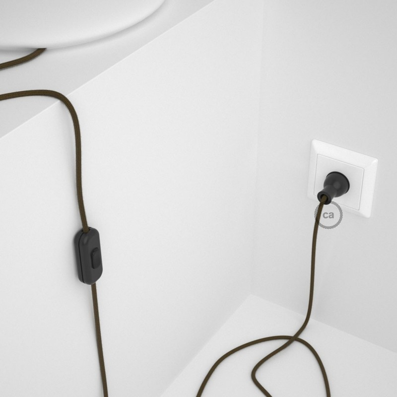 Cableado para lámpara de mesa, cable RC13 Algodón Café 1,8 m. Elige el color de la clavija y del interruptor!