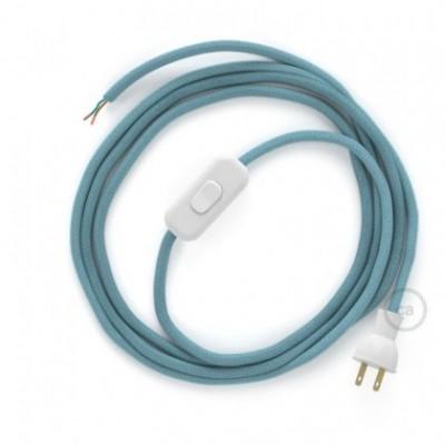 Cableado para lámpara de mesa, cable RC53 Algodón Oceano 1,8 m. Elige el color de la clavija y del interruptor!