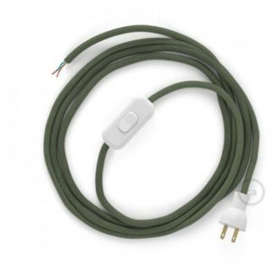 Cableado para lámpara de mesa, cable RC63 Algodón Verde Gris 1,8 m. Elige el color de la clavija y del interruptor!