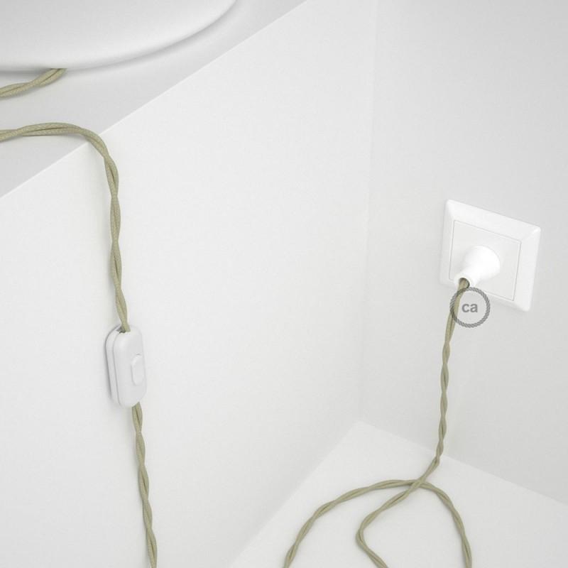 Cableado para lámpara de mesa, cable TC43 Algodón Gris Pardo 1,8 m. Elige el color de la clavija y del interruptor!