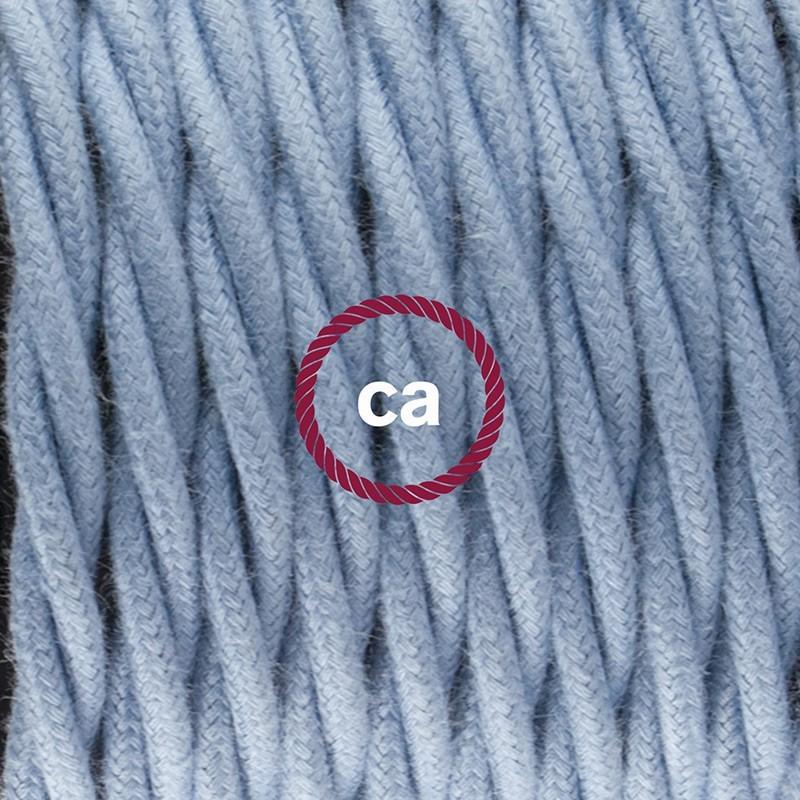 Cableado para lámpara de mesa, cable TC53 Algodón Oceano 1,8 m. Elige el color de la clavija y del interruptor!