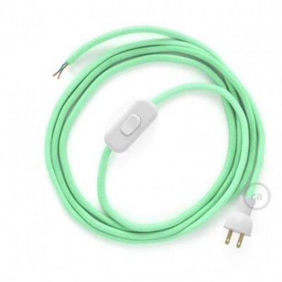 Cableado para lámpara de mesa, cable RC34 Algodón Verde Menta 1,8 m. Elige el color de la clavija y del interruptor!