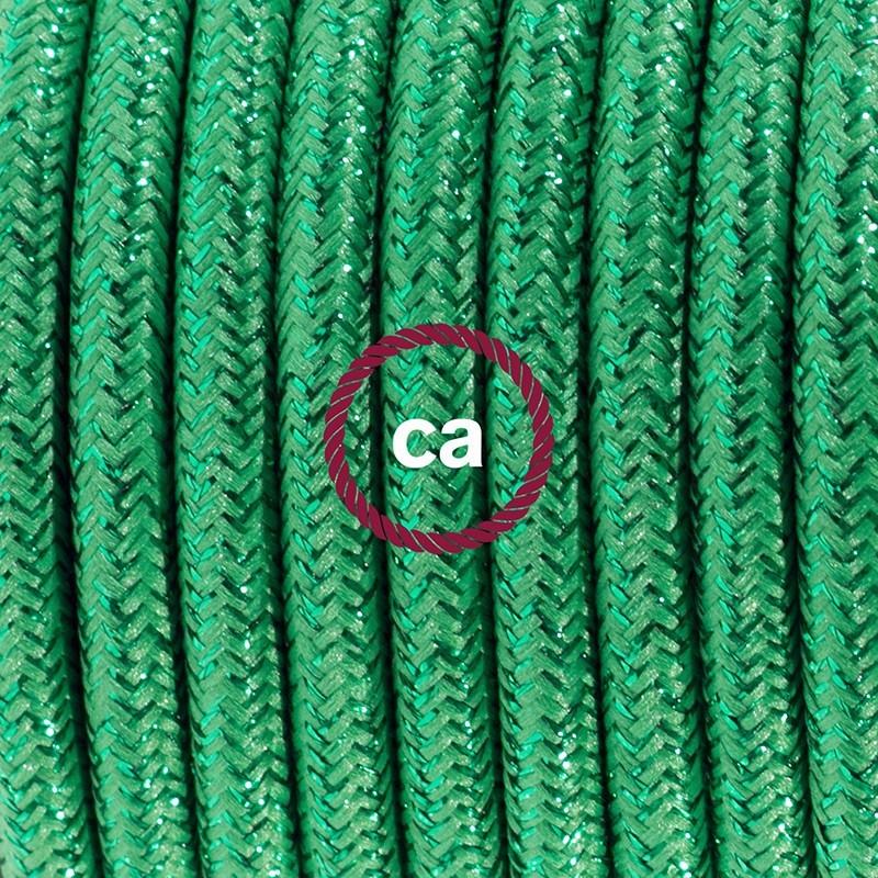 Cableado para lámpara de mesa, cable RL06 Rayón Brillante Verde 1,8 m. Elige el color de la clavija y del interruptor!