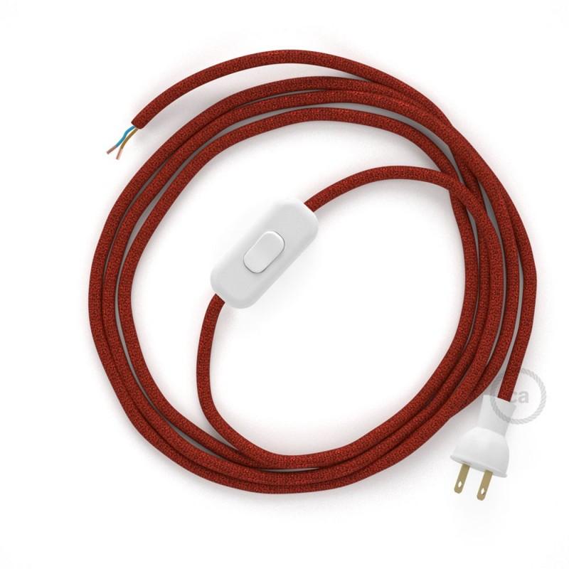 Cableado para lámpara de mesa, cable RL09 Rayón Brillante Rojo 1,8 m. Elige el color de la clavija y del interruptor!