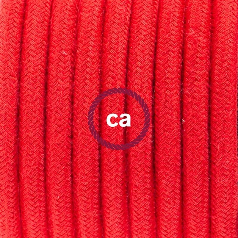 Cableado para lámpara de mesa, cable RC35 Algodón Rojo Fuego 1,8 m. Elige el color de la clavija y del interruptor!