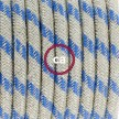 Cableado para lámpara de mesa, cable RD55 Algodón y Lino Rayas Azul Steward 1,8m.Elige el color de la clavija y del interruptor!