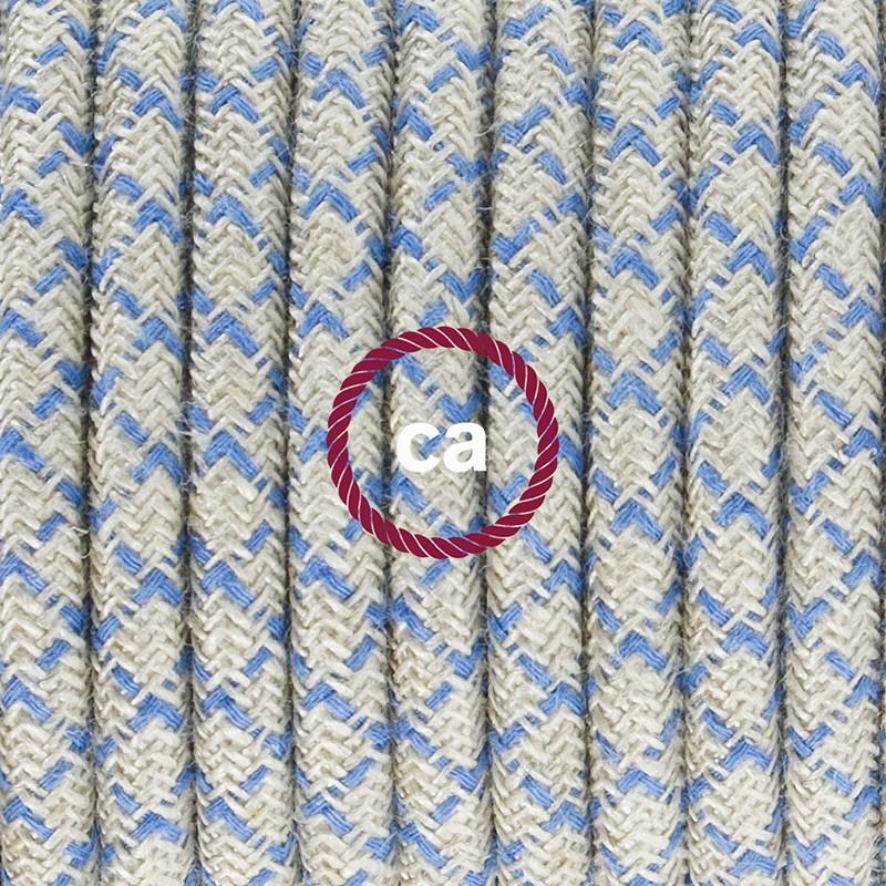 Cableado para lámpara de mesa, cable RD65 Algodón y Lino Rombo Azul Steward 1,8m.Elige el color de la clavija y del interruptor!