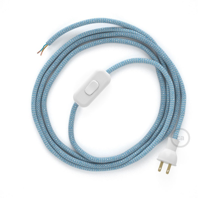Cableado para lámpara de mesa, cable RD75 Algodón Lino ZigZag Azul Steward 1,8m.Elige el color de la clavija y del interruptor!