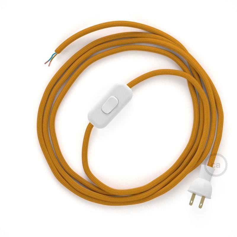 Cableado para lámpara de mesa, cable RM25 Rayón Mostaza 1,8 m. Elige el color de la clavija y del interruptor!