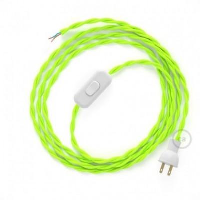 Cableado para lámpara de mesa, cable TF10 Rayón Amarillo Fluo 1,8 m. Elige el color de la clavija y del interruptor!