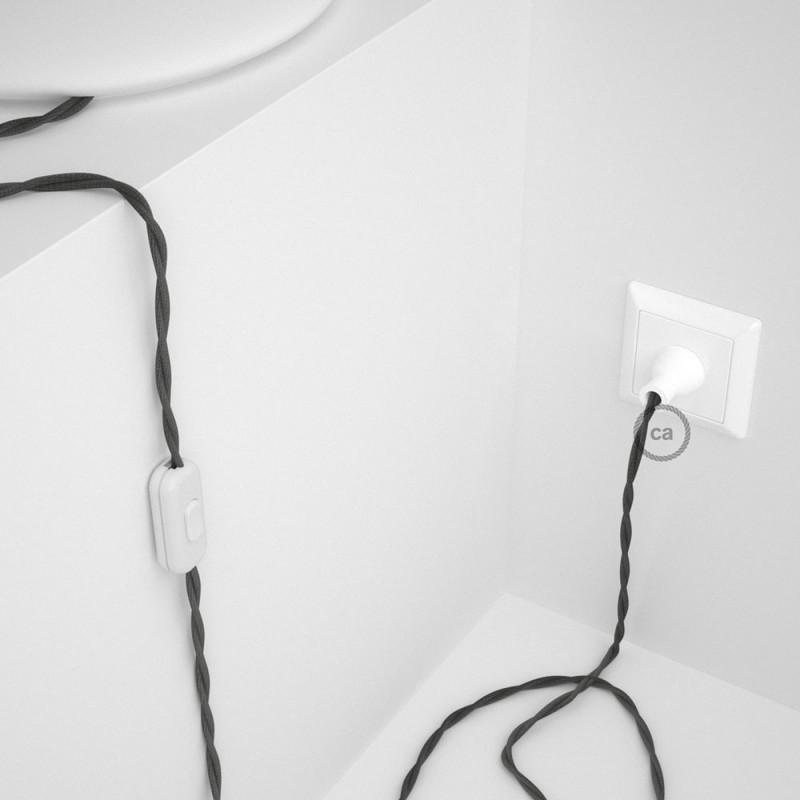 Cableado para lámpara de mesa, cable TM26 Rayón Gris Oscuro 1,8 m. Elige el color de la clavija y del interruptor!